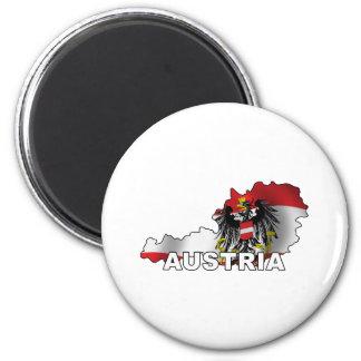 Austria Map 6 Cm Round Magnet