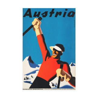 Austria, Mountains Skier Travel Vintage Canvas