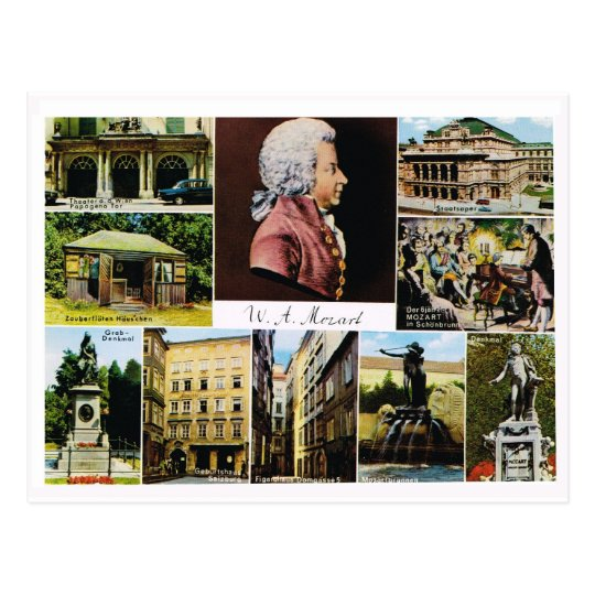 Austria, Mozart, places linked to Mozart Postcard