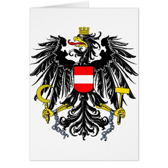 Austria Official Coat Of Arms Heraldry Symbol Card