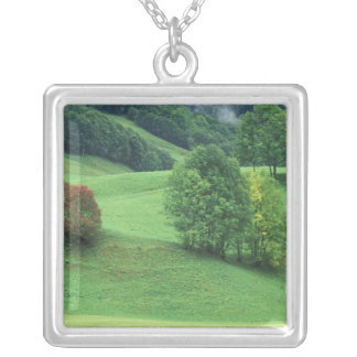 Austria. Rolling green hillside and trees Silver Plated Necklace