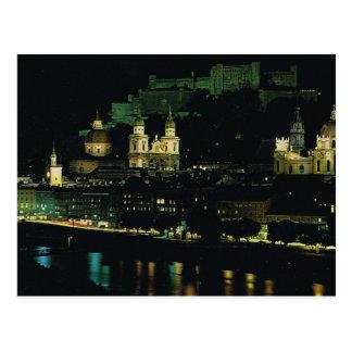 Austria, Salzburg at night Postcard