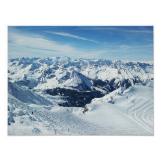 austria ski mountain travel alps snow landscape poster
