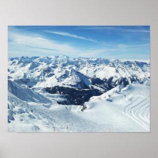 austria ski mountain travel alps snow landscape poster