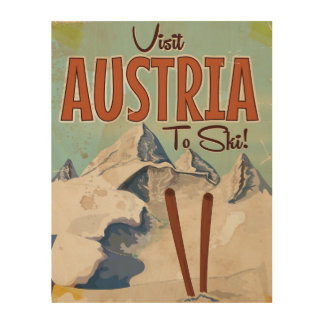 Austria Skiing Vintage travel poster Wood Canvas