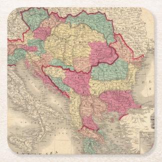 Austria Turkey In Europe and Greece Square Paper Coaster