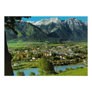 Austria, Tyrol, Solbad Hall and River Inn Poster