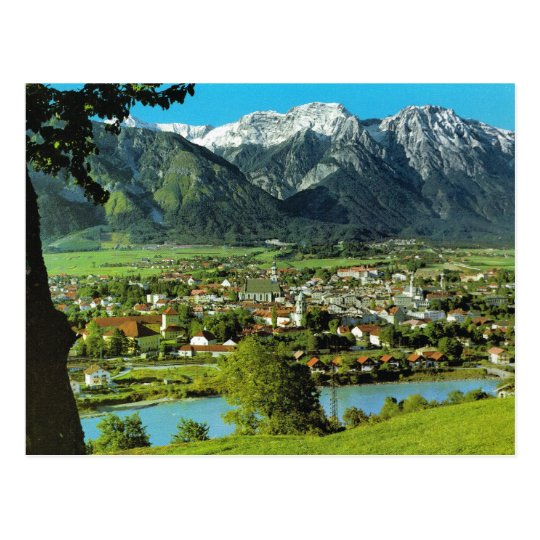 Austria, Tyrol, Solbad Hall, River Inn Postcard