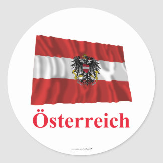 Austria Waving Flag with Name in German Classic Round Sticker