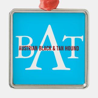 Austrian Black and Tan Hound Monogram Silver-Colored Square Decoration