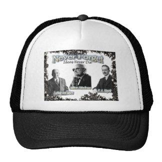 austrian economist hayek, mises, friedman mesh hat