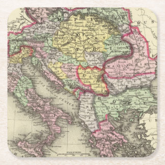 Austrian Empire, Italy, Turkey in Europe, Greece Square Paper Coaster