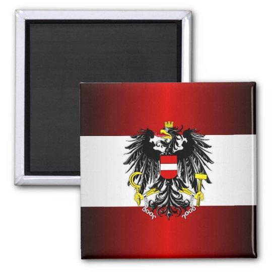 Austrian Flag & Arms Square Magnet