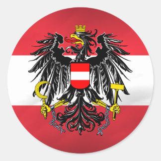 Austrian Flag & Coat of Arms Round Sticker