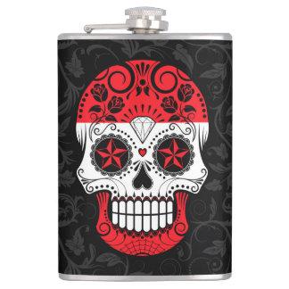 Austrian Flag Sugar Skull with Roses Flasks