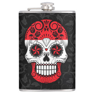 Austrian Flag Sugar Skull with Roses Hip Flask