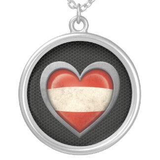 Austrian Heart Flag Steel Mesh Effect Necklaces