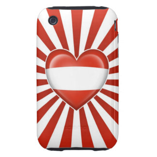 Austrian Heart Flag with Star Burst Tough iPhone 3 Cover