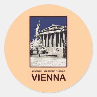 Austrian Parliament Building Vienna Round Sticker