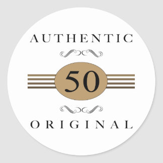 Authentic 50th Birthday Classic Round Sticker