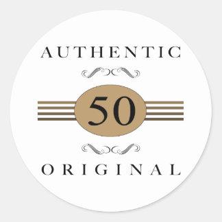 Authentic 50th Birthday Round Sticker