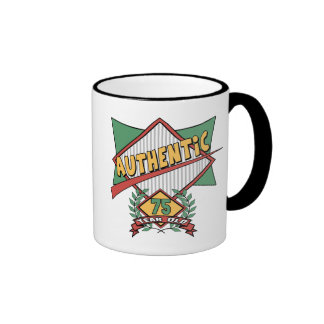 Authentic 75th Birthday Gifts Ringer Mug