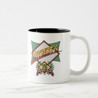 Authentic 75th Birthday Gifts Two-Tone Mug