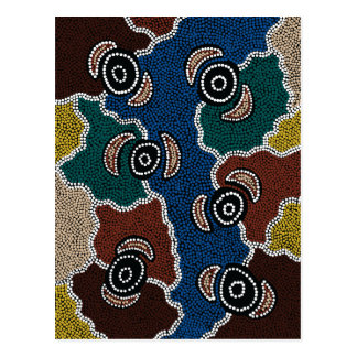 Authentic Aboriginal Art - Riverside Dreaming Postcard