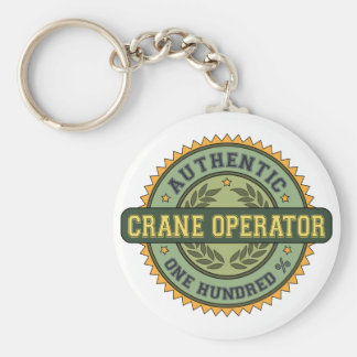 Authentic Crane Operator Basic Round Button Key Ring