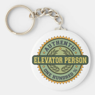 Authentic Elevator Person Basic Round Button Key Ring
