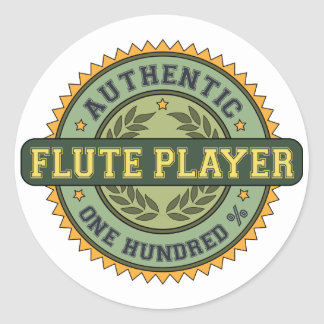 Authentic Flute Player Classic Round Sticker