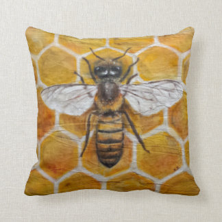 Authentic hand painted textile Honey Bee Cushion