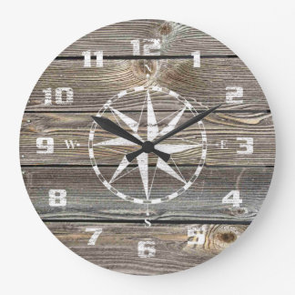 Authentic looking Wood Rustic Nautical Compass Wallclocks