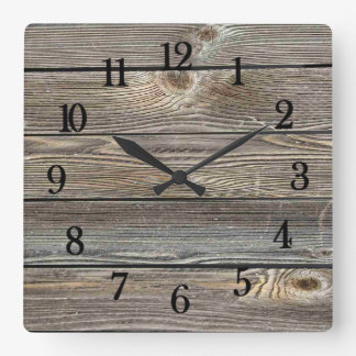 Authentic looking wood square wall clock