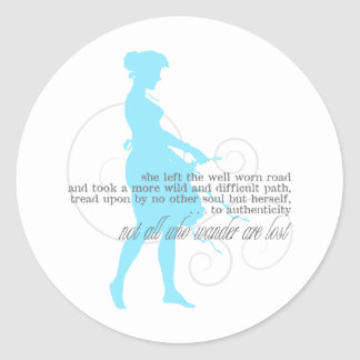 Authentic Path: Woman Silhouette Round Stickers
