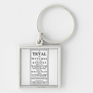 Authentic Witch Trials Poster Silver-Colored Square Key Ring