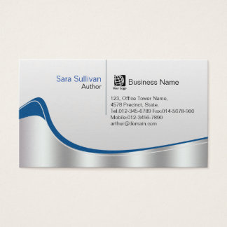 Author Chrome Silver Wave Professional Business Card