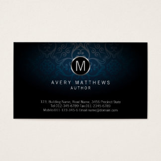 Author Elegant Circle Monogram Dark Damask Business Card