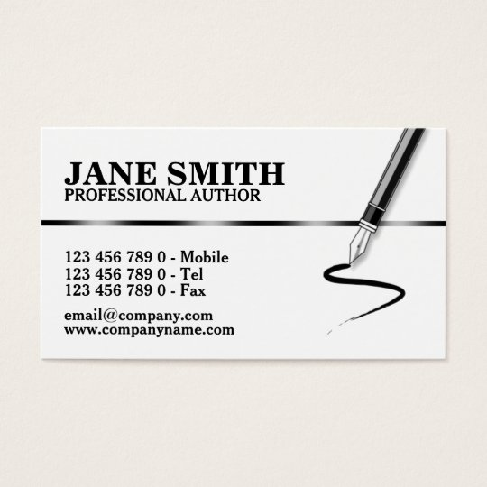 Author novelist calligraphy writer business card