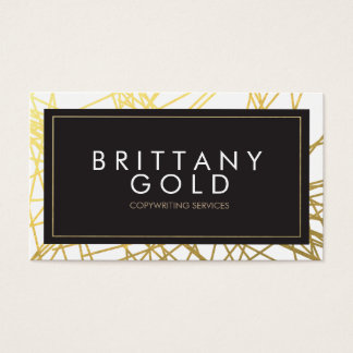 Author, Writer Business Card - Chic Gold and Black