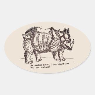 Authoritarian Rhino Oval Sticker