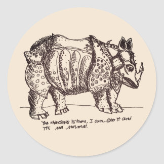 Authoritarian Rhino Round Sticker