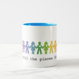 Autism Acceptance Mug... Until The Pieces Fit Two-Tone Coffee Mug