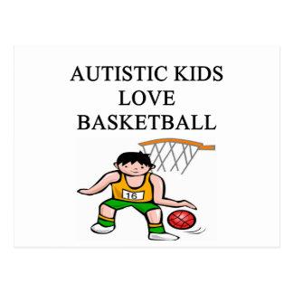 autism autistic kids love basketball postcard