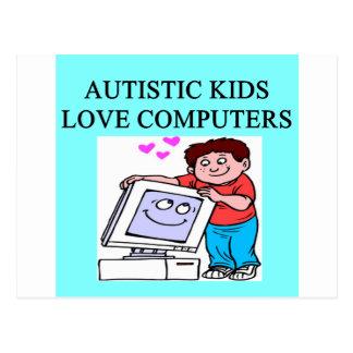 autism autistic kids love computers postcards