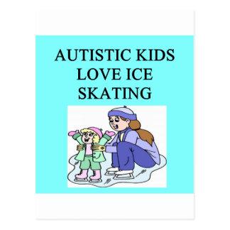 autism autistic kids love ice skating post cards