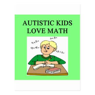autism autistic kids love math postcard