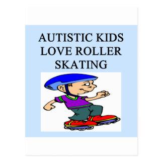 autism autistic kids love roller skating post card