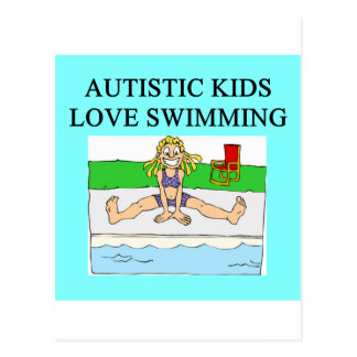 autism autistic kids love swimming post card