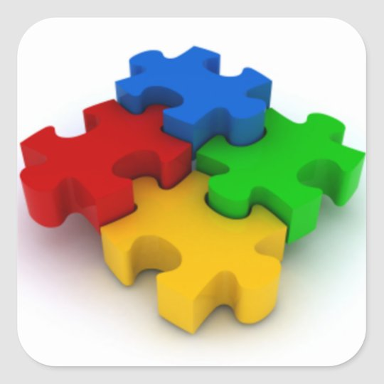 Autism Awareness 3D Puzzle Pieces Stickers